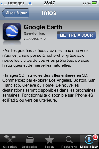 Mise à jour Google Earth 7.0